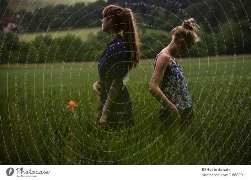 sidecut & undercut Mensch feminin Junge Frau Jugendliche Erwachsene 2 18-30 Jahre Umwelt Natur Landschaft Sommer Unwetter Wind Feld Kleid Tattoo brünett blond