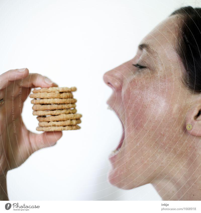 KEKSEEEEE Teigwaren Backwaren Süßwaren Keks Ernährung Essen Fingerfood Lifestyle Reichtum Frau Erwachsene Leben Gesicht Hand 1 Mensch 30-45 Jahre viele Gefühle