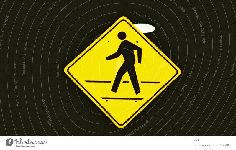Pedestrian gelb Dinge Amerika Fußgänger Straßennamenschild