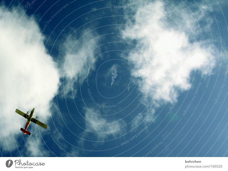 flieger, grüß mir die sonne... Himmel blau Ferien & Urlaub & Reisen Wolken Ferne Freiheit Glück träumen Zufriedenheit Flugzeug fliegen frei Ausflug Fröhlichkeit