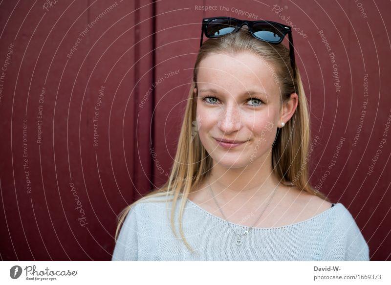 hübsch Mensch Frau Jugendliche blau schön Junge Frau rot Erwachsene Auge Leben natürlich Glück Kopf Zufriedenheit elegant blond