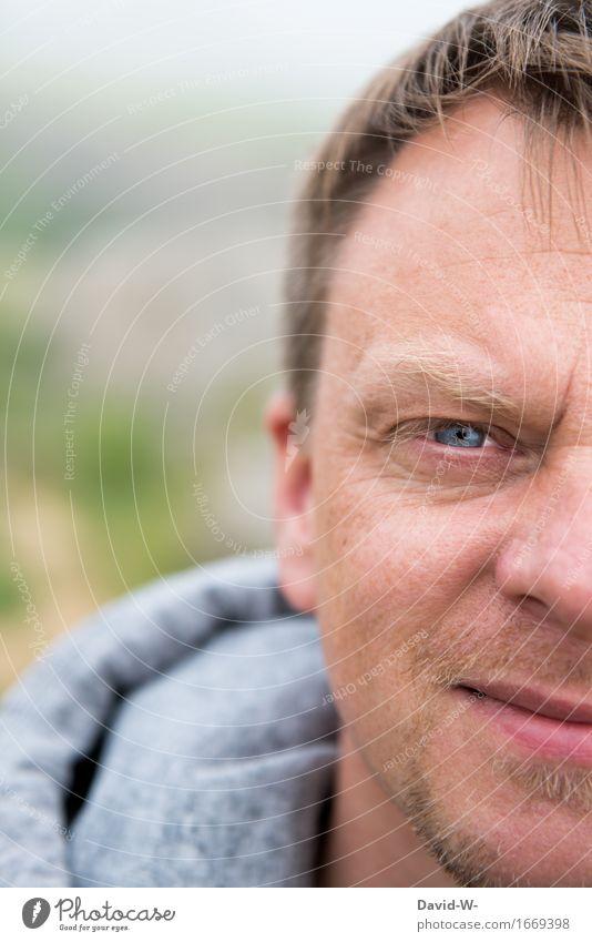 Halbprofil Mensch Jugendliche Mann blau Junger Mann Erholung ruhig Gesicht Erwachsene Leben Gesundheit Gesundheitswesen maskulin Zufriedenheit blond beobachten