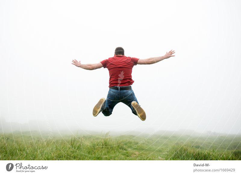 800 Luftsprung Mensch Natur Ferien & Urlaub & Reisen Jugendliche Mann Sommer Junger Mann Wolken Freude Ferne Erwachsene Umwelt Leben Herbst Wiese Lifestyle