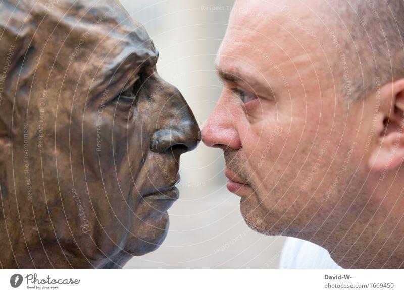 Nasengruß Mensch Mann Erwachsene Auge Leben lustig Kunst Kopf maskulin groß beobachten berühren Statue Theaterschauspiel Geruch