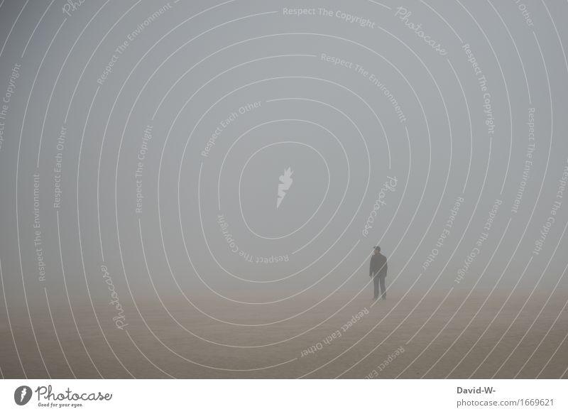 Orientierungslos Tourismus Strand Meer wandern Mensch maskulin Mann Erwachsene Leben 1 Kunst Kunstwerk Natur Herbst Klimawandel Wetter schlechtes Wetter Nebel