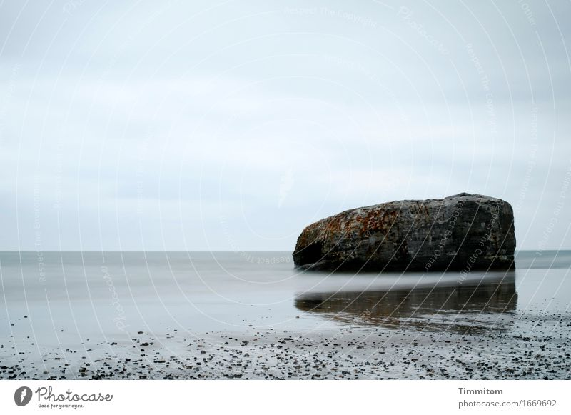 Liegeplatz. Ferien & Urlaub & Reisen Umwelt Urelemente Sand Wasser Himmel Wolken Strand Nordsee Dänemark Stein Beton liegen ästhetisch blau grau Bunker schwer