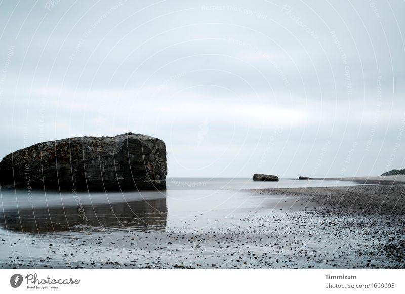Reste. Umwelt Landschaft Urelemente Sand Wasser Himmel Wolken Frühling Sommer Schönes Wetter Küste Nordsee Dänemark Bunker Stranddüne Stein Beton blau grau