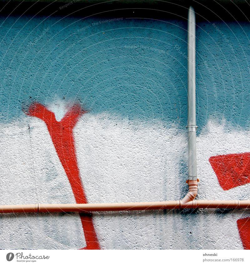 Rohr frei mehrfarbig Textfreiraum links Textfreiraum Mitte Zentralperspektive Menschenleer Haus Mauer Wand Fassade Regenrohr Regenfallrohr Schriftzeichen