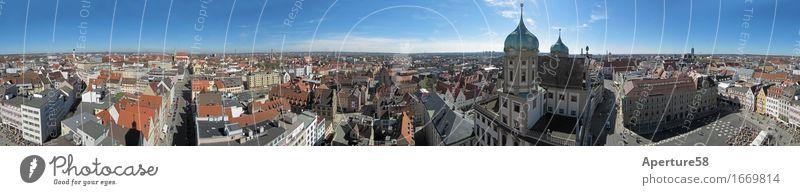 Augsburg, vom Perlachturm aus gesehen;360 Grad Panorama Stadt Stadtzentrum Altstadt bevölkert Dom Platz Marktplatz Rathaus Turm Bauwerk Gebäude Architektur