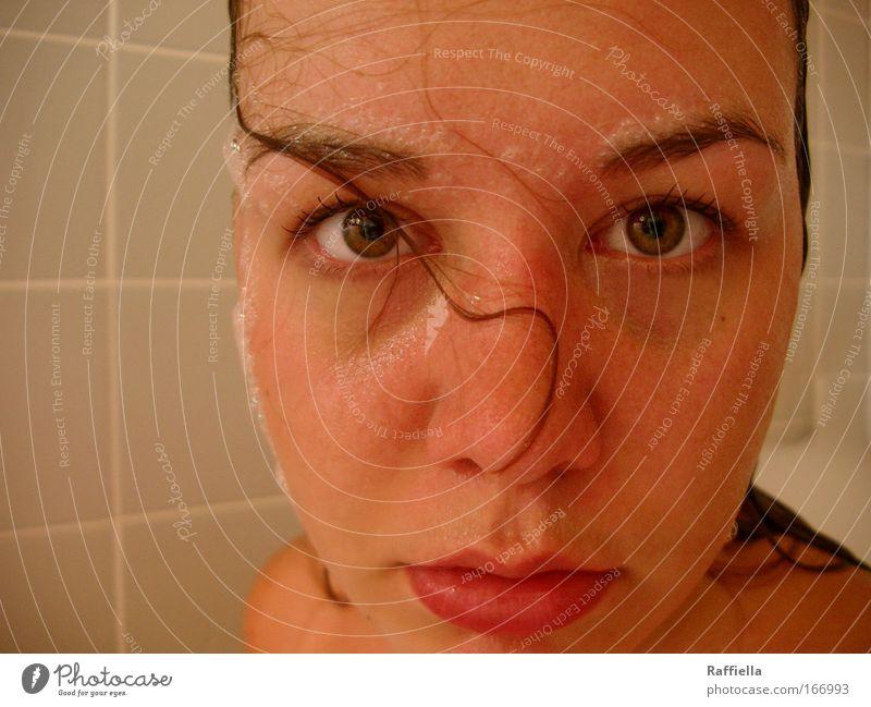 te veo en mis sueños Mensch Jugendliche Auge feminin Mund nass Nase Lippen brünett Waschen Junge Frau Gesicht Schaumbad