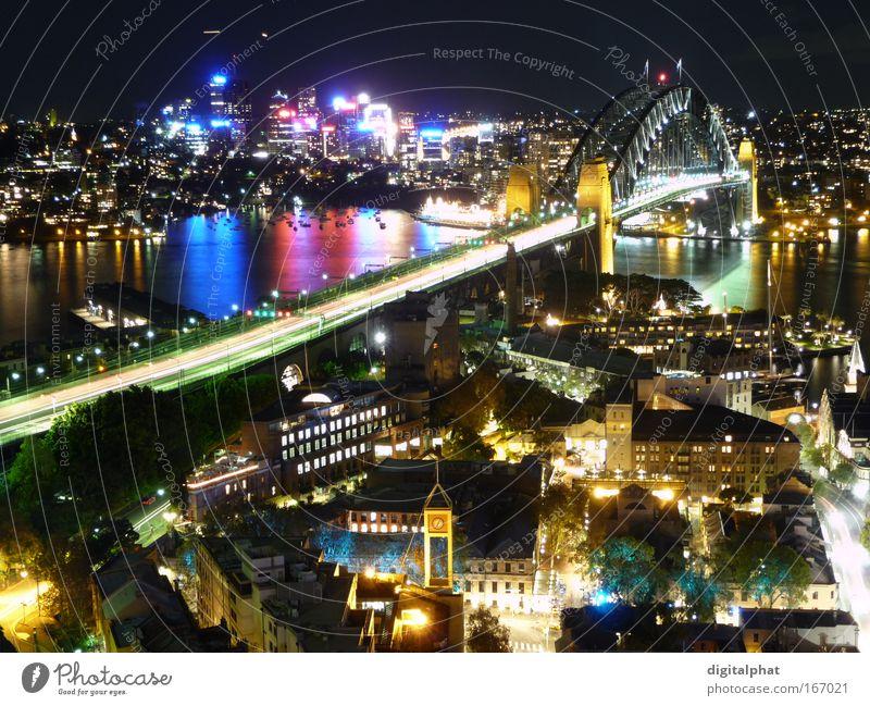 The Rocks - Sydney Stadt schön Ferien & Urlaub & Reisen Farbe Gebäude glänzend Hochhaus leuchten Hafen Nacht Skyline Wahrzeichen Sehenswürdigkeit Australien
