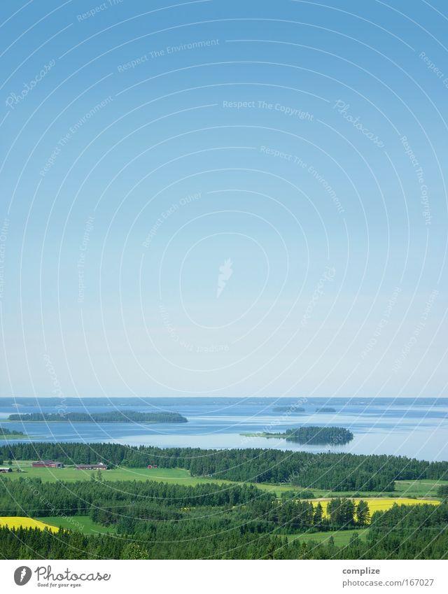 Skandinavia Natur blau grün Sonne Sommer Freude Strand ruhig Ferne gelb Erholung Freiheit See Horizont Feld außergewöhnlich
