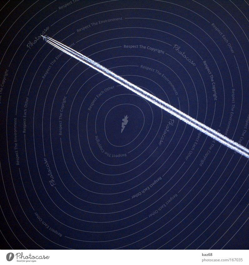 nightplane Himmel blau weiß Ferien & Urlaub & Reisen Ferne Wege & Pfade fliegen hoch Ausflug Flugzeug Geschwindigkeit Luftverkehr Streifen Technik & Technologie