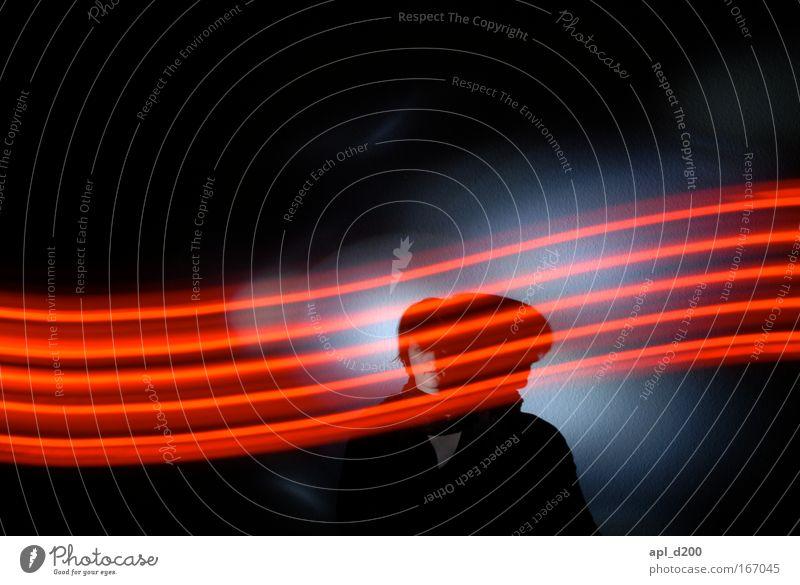 Leuchtband Mensch weiß rot schwarz warten Zukunft Coolness Technik & Technologie Nacht Fortschritt High-Tech Porträt