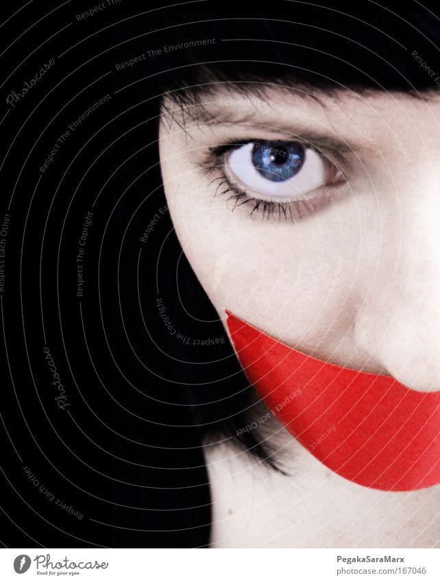 silence Frau Mensch Jugendliche weiß blau rot Gesicht schwarz Auge Leben kalt feminin Stil Traurigkeit Erwachsene Zukunft