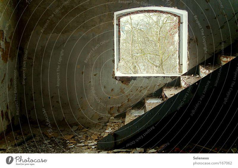 Zerfall Menschenleer Industrieanlage Fabrik Ruine Bauwerk Gebäude Mauer Wand Treppe Tür Stein Metall alt kaputt Vergänglichkeit Farbfoto Innenaufnahme