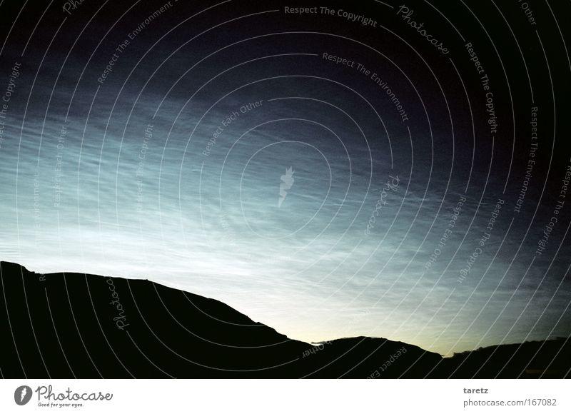 Knitterwolken blau Wolken Horizont Romantik Nachthimmel Hügel Island Abenddämmerung