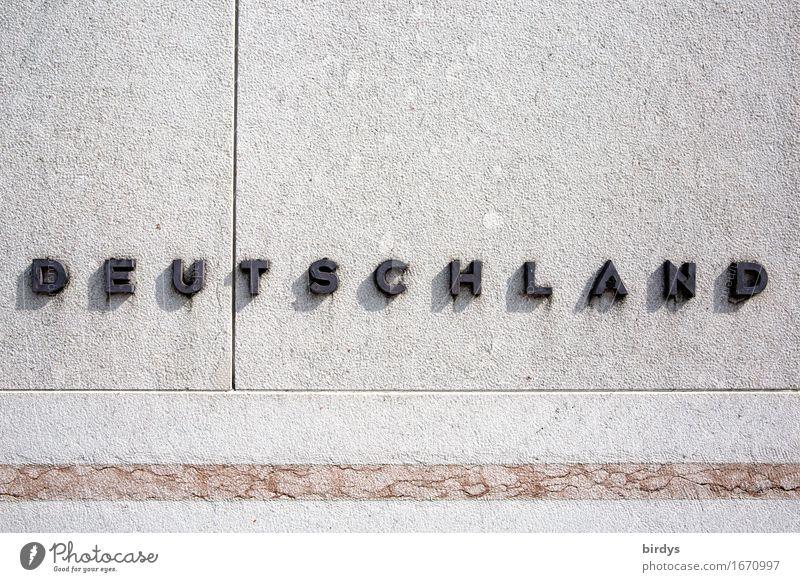konservativ Deutschland Mauer Wand Stein Metall Schriftzeichen Linie ästhetisch einfach positiv grau schwarz selbstbewußt Fortschritt Gesellschaft (Soziologie)