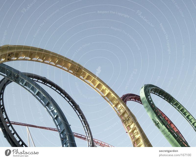 schwindelig kringelig blau grün Sommer Freude gelb Freiheit lustig Freizeit & Hobby groß Geschwindigkeit Kreis Coolness rund fahren schreien Dienstleistungsgewerbe