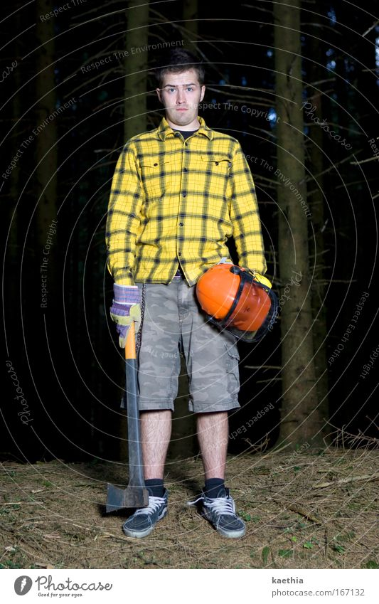 rockefeller III Mensch Mann Natur Baum gelb Wald dunkel Holz Erwachsene verrückt Coolness Macht bedrohlich beobachten natürlich gruselig