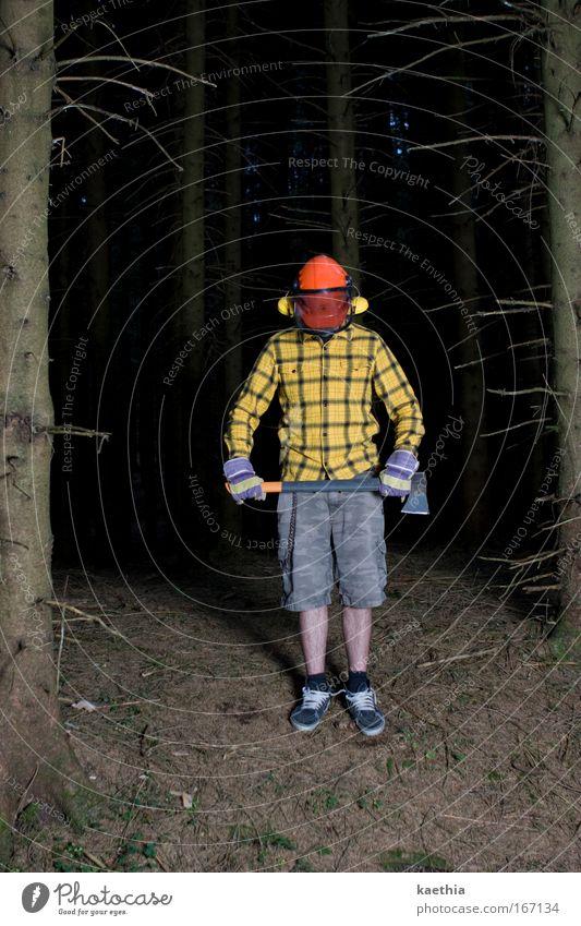 rockefeller IV Mann Natur Baum Wald gelb Erwachsene Kraft bedrohlich Macht außergewöhnlich Werkzeug gruselig Hemd anstrengen Zerstörung Aggression