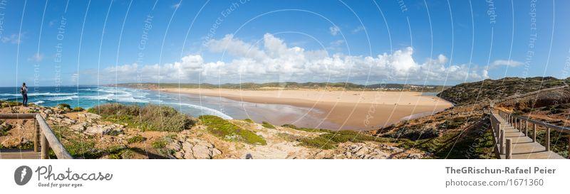 Portugal Umwelt Natur Erde Sand Luft Wasser blau braun grau grün schwarz silber türkis Küste Strand Steg Aussicht Ferne Wolken Ferien & Urlaub & Reisen Stein