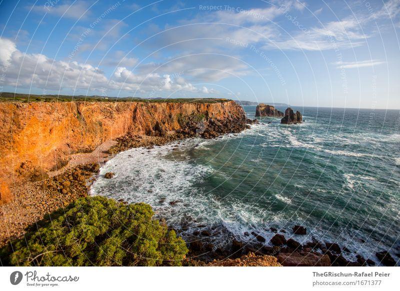 Küste Umwelt Natur Landschaft Wasser blau braun gelb gold türkis weiß Portugal Algarve Klippe Felsen Meer Gischt Stimmung Ferien & Urlaub & Reisen Ferne