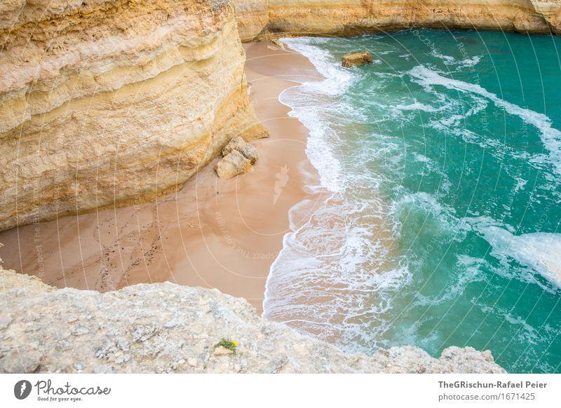 TheBeach Umwelt Natur Landschaft Wasser blau braun gelb türkis Sand Strand Wellen Gischt Meer Ferien & Urlaub & Reisen Felsen Klippe Algarve Stein Farbfoto