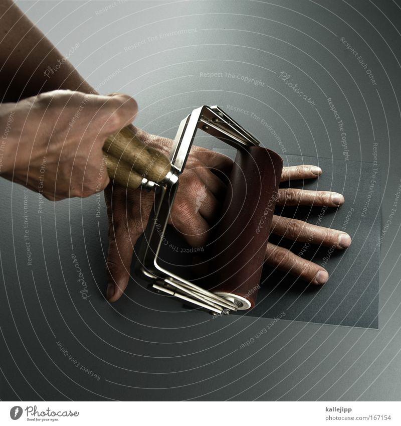 farbdrucker Kunstlicht Mensch Mann Erwachsene Haut Hand Finger 1 gebrauchen kaputt Männerhand Maniküre Rolle rollen Knoten flach dreidimensional 2d Fingernagel