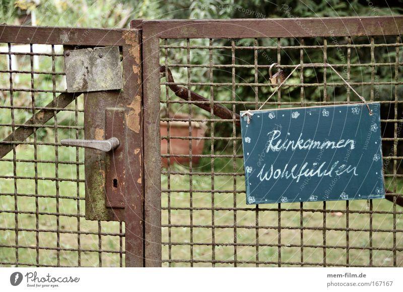 Reinkommen Wohlfühlen Ferien & Urlaub & Reisen Garten Schilder & Markierungen Gartenbau Tor Rost Tafel Griff Wohlgefühl Gast Kreide Willkommen Spießer Tür