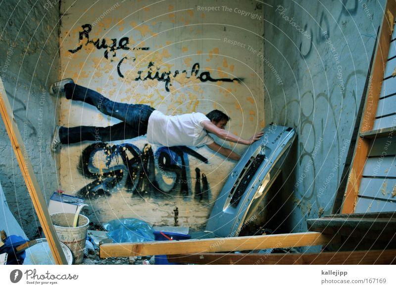 leserichtung Klettern Bergsteigen Mensch Mann Erwachsene 1 Haus Stein Beton Holz blau Versuch Müll Fitness freerunning Architektur Tag