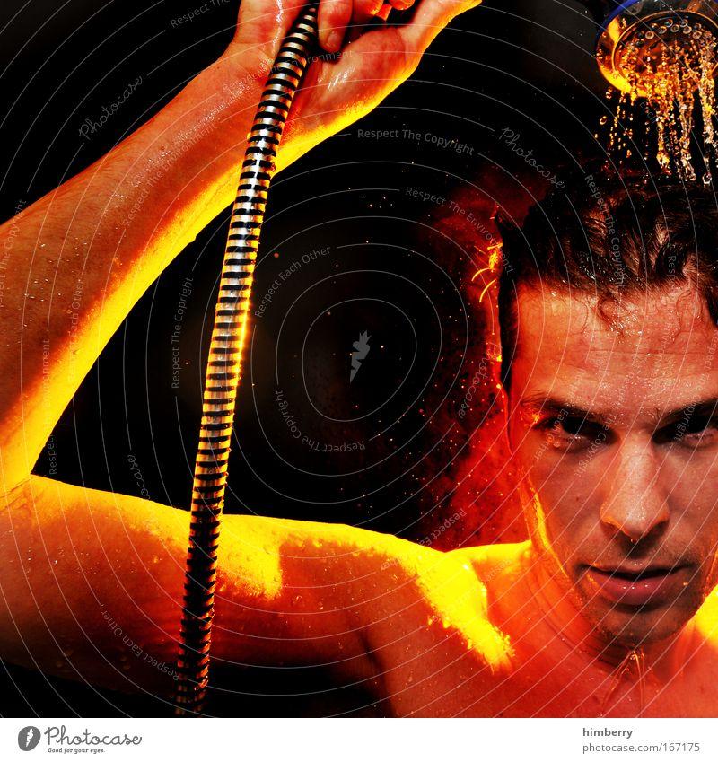 heiß wie feuer Mensch Jugendliche schön Gesicht Farbe Leben Kopf Haare & Frisuren Zufriedenheit Haut nass maskulin Design Wellness heiß