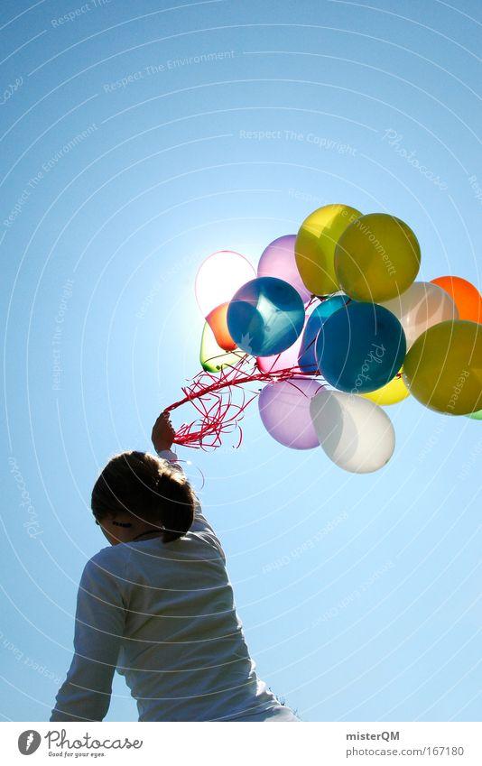 Keep Running. Frau Natur weiß Sommer Freude Spielen Freiheit fliegen verrückt frisch modern Luftverkehr Zukunft Luftballon Kitsch
