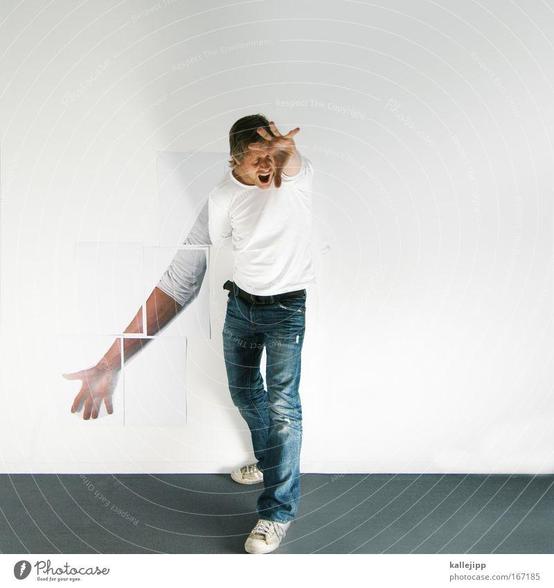 hulk Kunstlicht High Key Mensch Mann Erwachsene Arme Hand Finger 1 30-45 Jahre Bühne Schauspieler schreien Aggression wild gefährlich Gewalt Theaterschauspiel