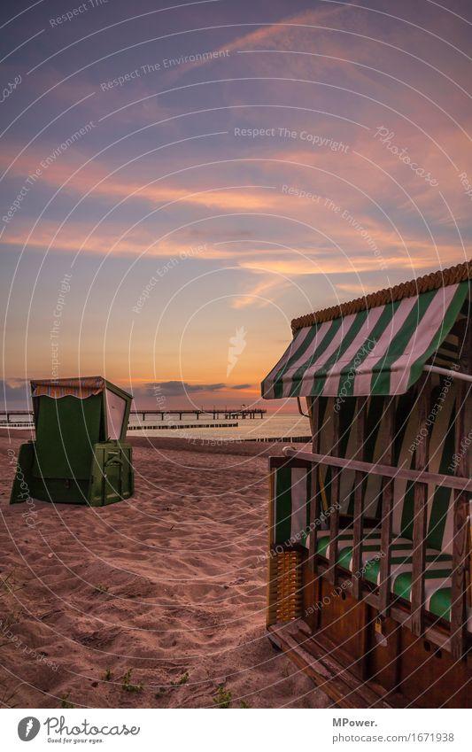 on the beach Natur Himmel Wolken Sonnenaufgang Sonnenuntergang Schönes Wetter Wellen Küste Strand Ostsee Meer erleben Freizeit & Hobby Strandkorb Seebrücke