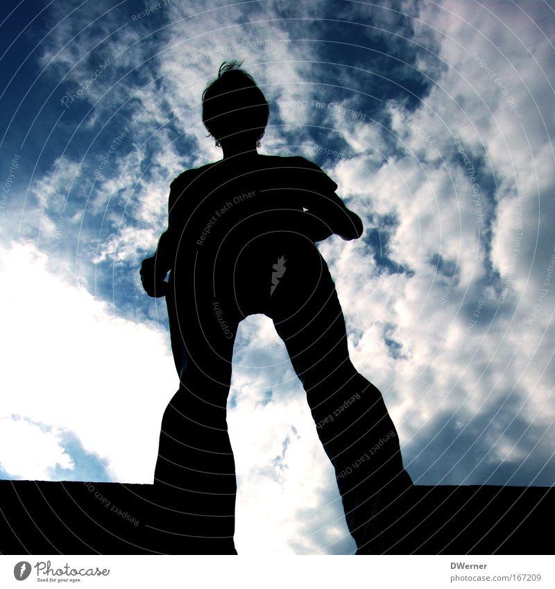 Rhodos Mensch Himmel Mann Jugendliche Sommer Wolken ruhig Erwachsene Ferne Erholung Leben Wand Freiheit oben springen Stein