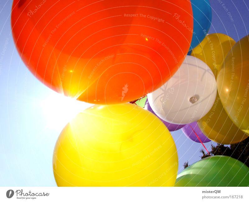 Auf zur Sonne! Geburtstag Jubiläum schön Himmel Freude Ferien & Urlaub & Reisen Party Stil mehrfarbig Feste & Feiern lustig fliegen Aktion Luftverkehr Zukunft