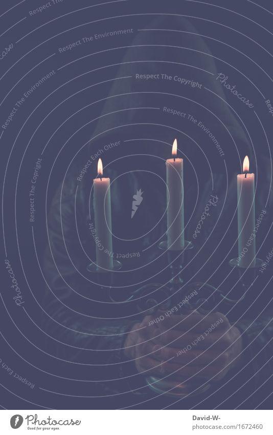 gruseln Mensch Jugendliche Mann Junger Mann dunkel schwarz Erwachsene Leben Religion & Glaube Stil maskulin Angst elegant leuchten geheimnisvoll Kerze