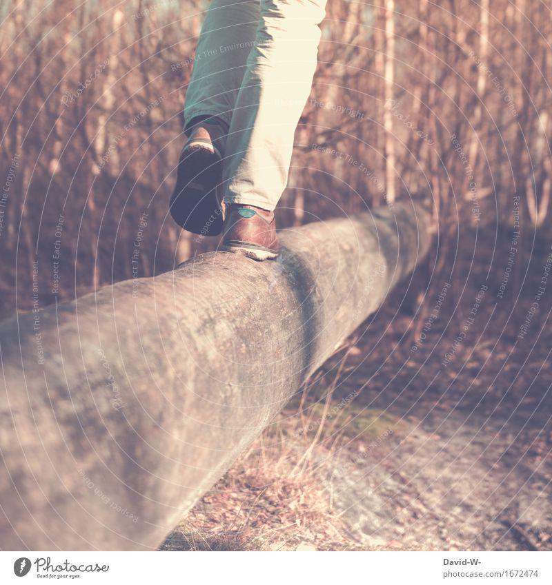 Gleichgewicht Mensch maskulin Junger Mann Jugendliche Erwachsene Leben 1 Bewegung laufen elegant Euphorie selbstbewußt Erfolg Kraft Willensstärke Mut Fuß gewagt
