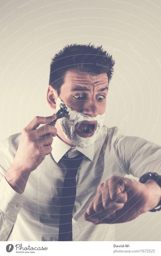Waaaaaas schon so spät Lifestyle Körperpflege Arbeit & Erwerbstätigkeit Business Sitzung Mensch maskulin Junger Mann Jugendliche Erwachsene Leben Gesicht 1
