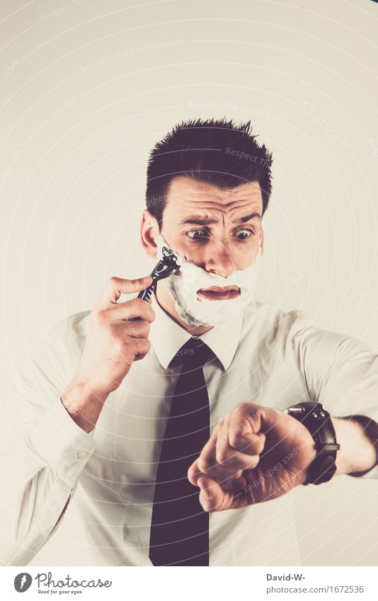 Blick auf die Uhr Lifestyle elegant schön Körperpflege Mensch maskulin Junger Mann Jugendliche Erwachsene Leben Gesicht 1 18-30 Jahre Hemd Krawatte brünett