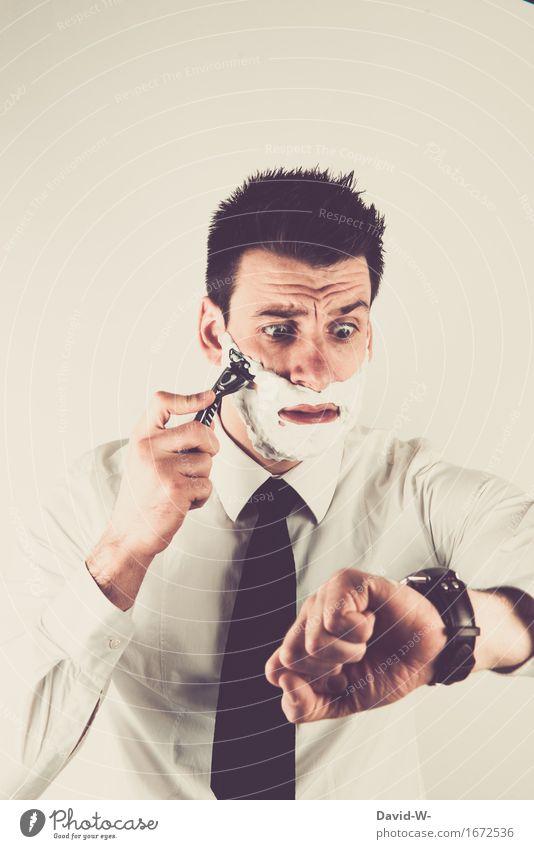 Blick auf die Uhr Mensch Jugendliche Mann schön Junger Mann 18-30 Jahre Gesicht Erwachsene Leben Lifestyle Zeit Business Arbeit & Erwerbstätigkeit maskulin