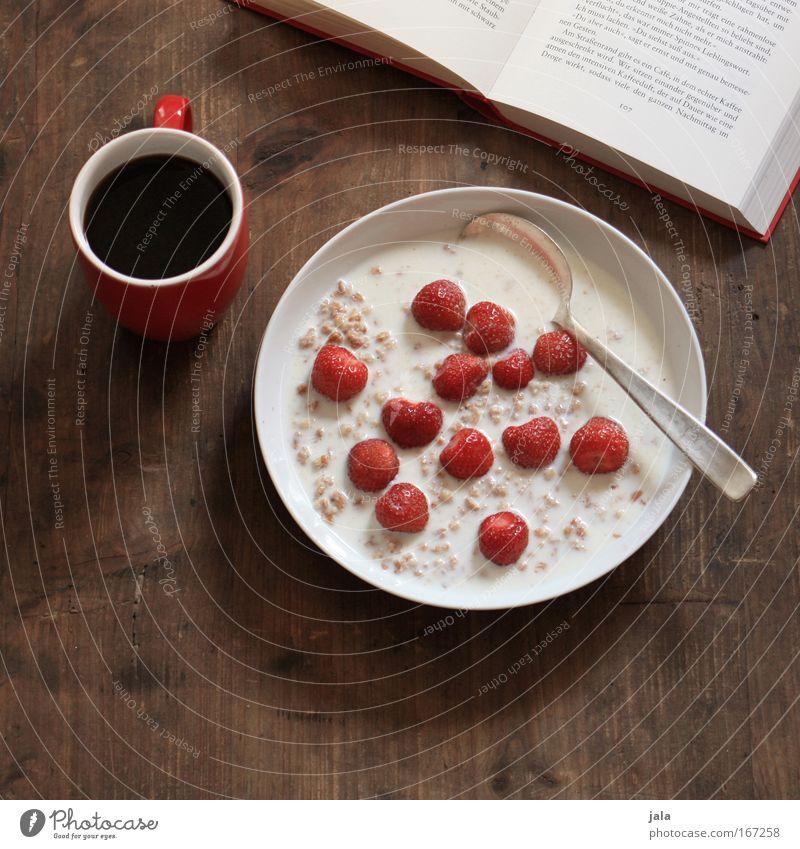 guten morgen photocase Lebensmittel Milcherzeugnisse Frucht Müsli Erdbeeren Frühstück Bioprodukte Vegetarische Ernährung Getränk Kaffee Teller Tasse Löffel