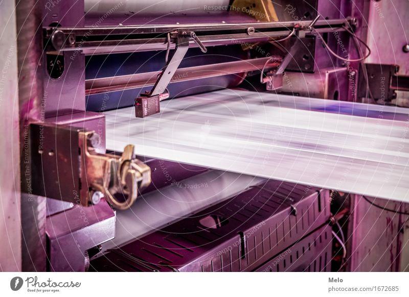 Rollenoffset I Drucker Maschine Druckmaschine Technik & Technologie Metall leuchten dunkel Klischee violett rosa Kraft fleißig Leistung Farbfoto