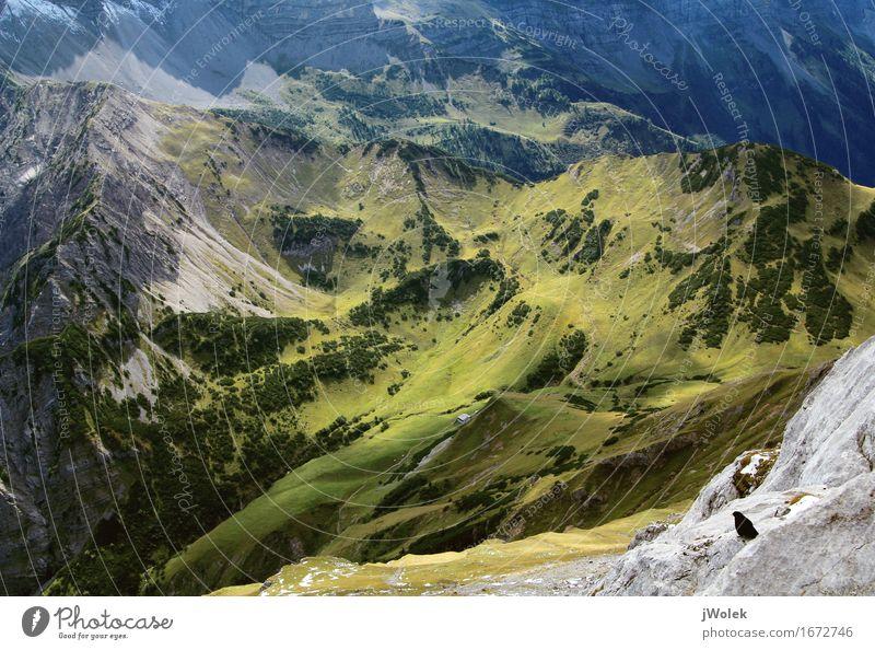Blick von Gipfel auf Alm in den Alpen (Karwendel) Erholung ruhig Ferien & Urlaub & Reisen Abenteuer Freiheit Berge u. Gebirge wandern Klettern Bergsteigen Natur