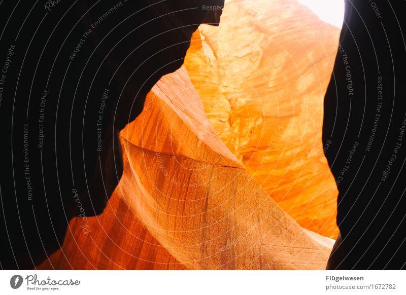 Upper Antelope Canyon [4] Ferien & Urlaub & Reisen Farbe Berge u. Gebirge Stein Sand Felsen Tourismus Orange Ausflug Hügel USA Wüste Schlucht Felsbogen