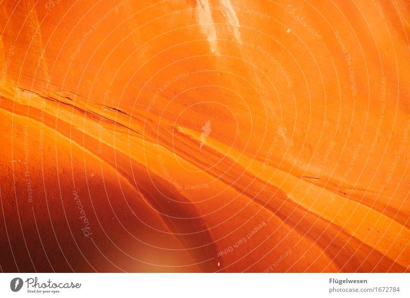 Upper Antelope Canyon [10] Ferien & Urlaub & Reisen Farbe Berge u. Gebirge Stein Sand Felsen Tourismus orange Ausflug berühren Hügel USA Amerika eckig Schlucht