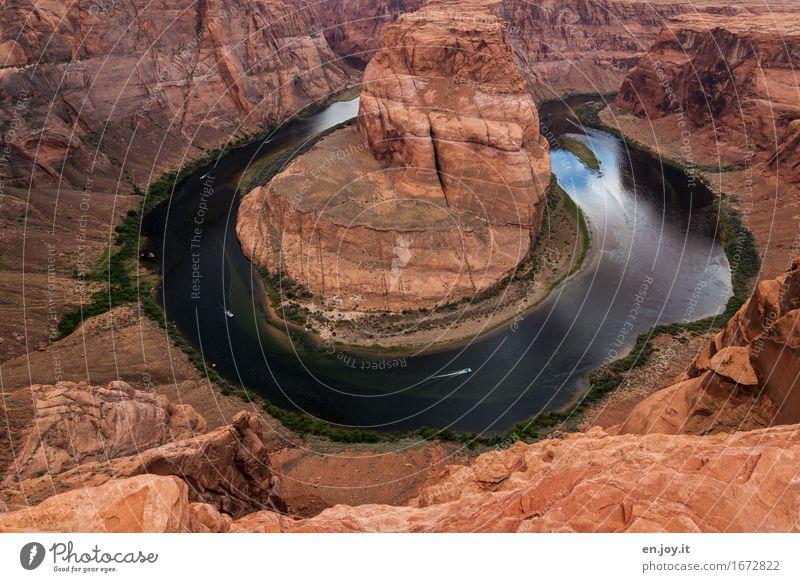 linksrum Natur Ferien & Urlaub & Reisen Landschaft außergewöhnlich Felsen orange Tourismus Kraft fantastisch Klima USA Vergänglichkeit Abenteuer rund Fluss