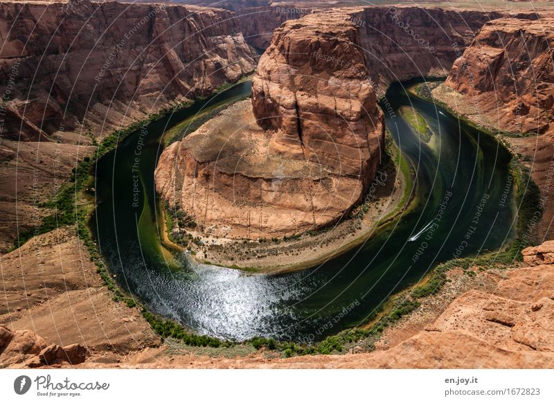 Wasserkraft Ferien & Urlaub & Reisen Tourismus Ausflug Abenteuer Sommer Sommerurlaub Natur Landschaft Klima Felsen Schlucht Grand Canyon Glen Canyon Flussufer