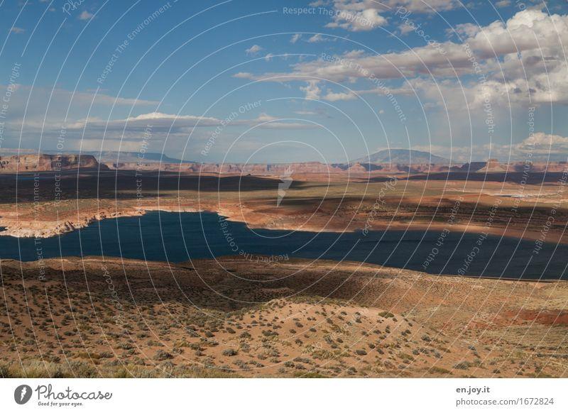 ganz natürlich Himmel Natur Ferien & Urlaub & Reisen Sommer Landschaft Wolken Ferne Umwelt See Felsen Horizont Klima Abenteuer USA Wüste Fernweh